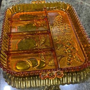 Indiana Glass Amber Colored  Fruit Pattern Dish